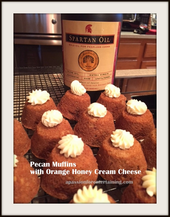 Pecan Muffins with Orange Honey Cream Cheese