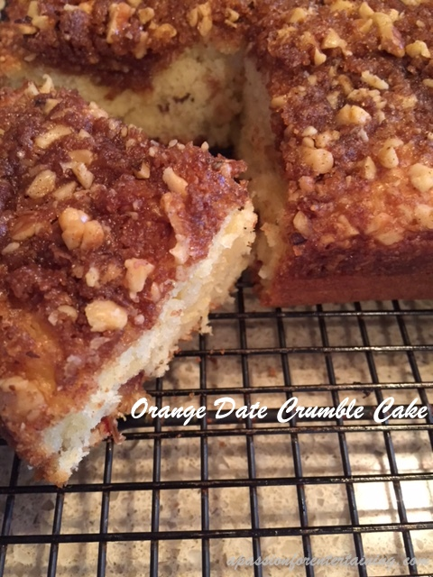 orange date crumble cake