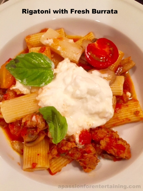 Rigatoni with Fresh Burrata