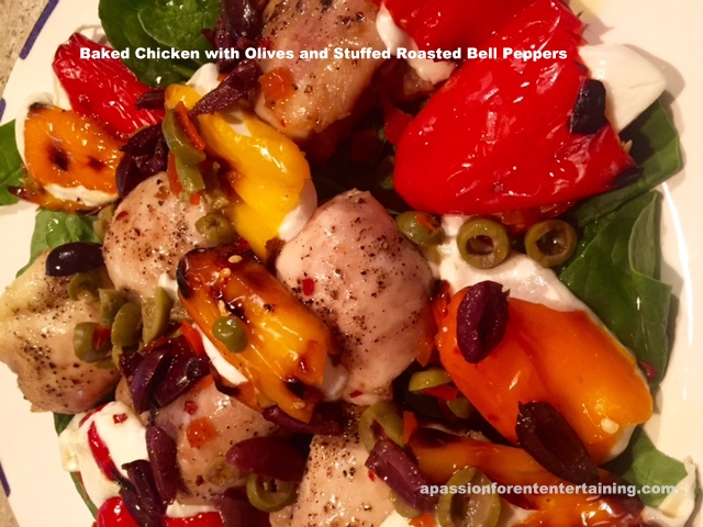 baked chicken with olives and peppers